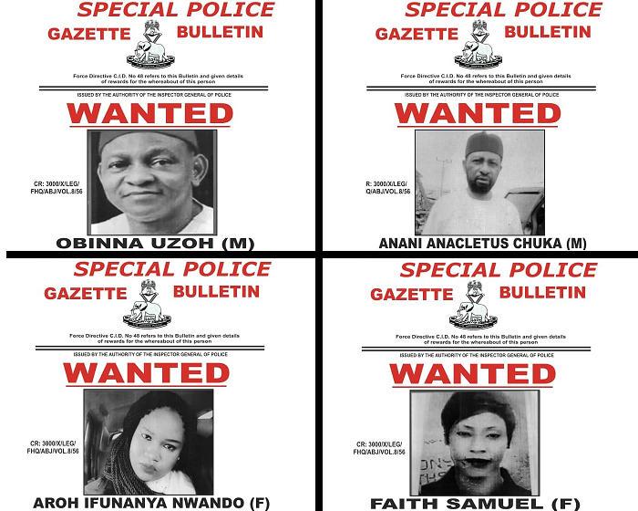 Crime: FG Declares Obinna Uzoh, Anani Cletus, Aroh Ifunanya, Faith Samuel Wanted