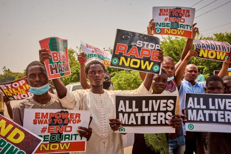 #EndInsecurityNow protesters storm Kaduna, Gombe, Kano, Bauchi, others