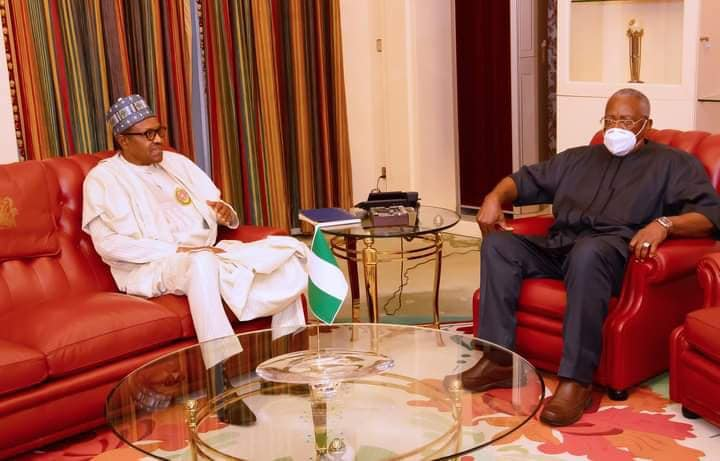 Buhari, TY Danjuma in closed door meeting at Aso Rock