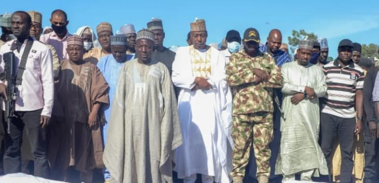 Zulum leads relatives, residents to bury 43 farmers killed in Borno