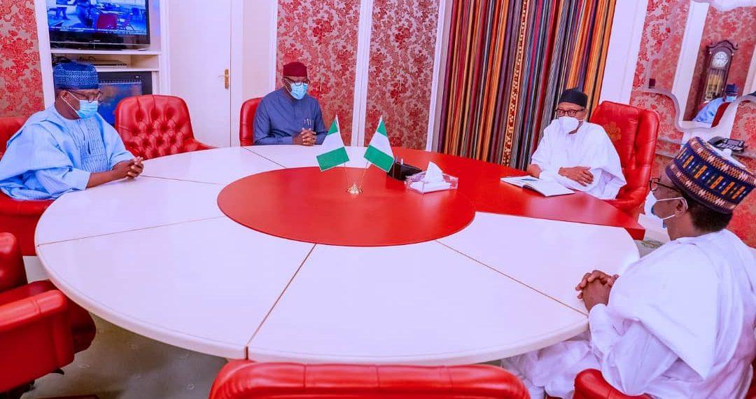 Buhari in closed door meeting with Fayemi, Buni at Aso Rock