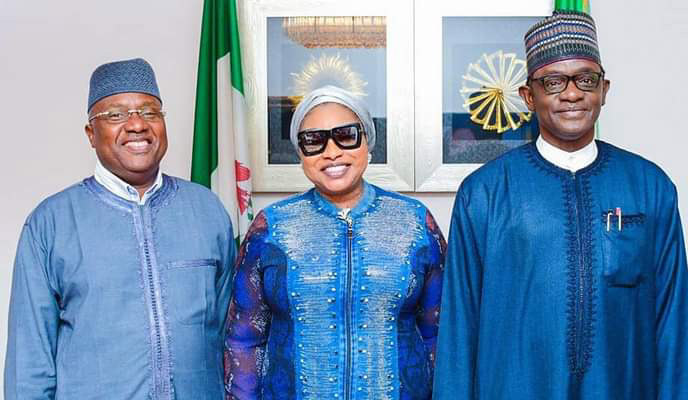 Photo: Sen Grace, PDP BOT member from Adamawa visit APC nat'l chairman