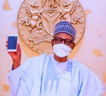 Buhari Receives ITF mobile,First Made-In-Nigeria Cell Phone