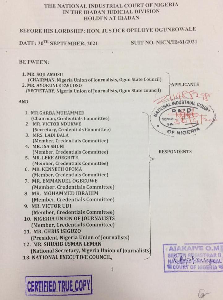 Breaking! Court Suspends NUJ Delegates Conference